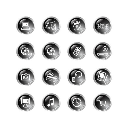 black drop electronics icons Stock Vector - 3792702