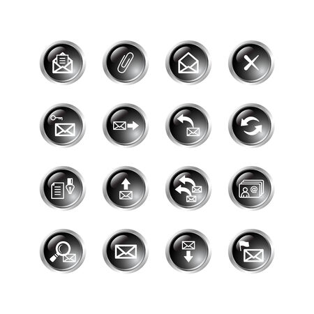 black drop e-mail icons Stock Vector - 3792695