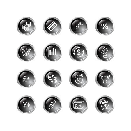 black drop finance icons Vector