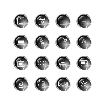 household goods: black drop household goods icons