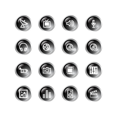 black drop media icons Stock Vector - 3792690