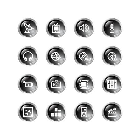 black drop media icons Illustration
