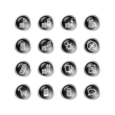 black drop mobile phone icons Vector