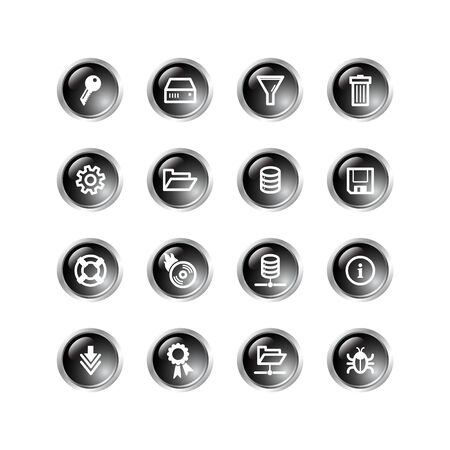 black drop server icons Vector