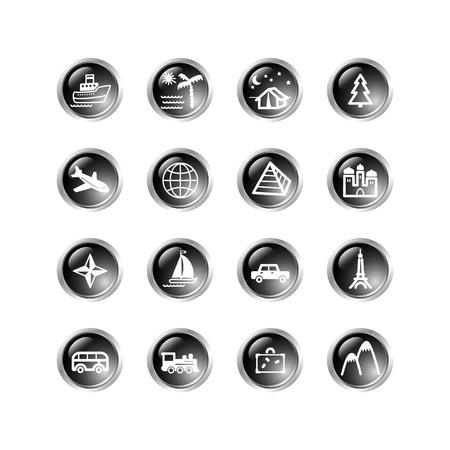 black drop travel icons Vector
