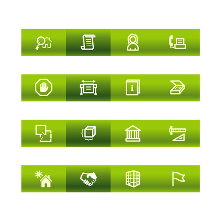 stopping: Green bar building icons