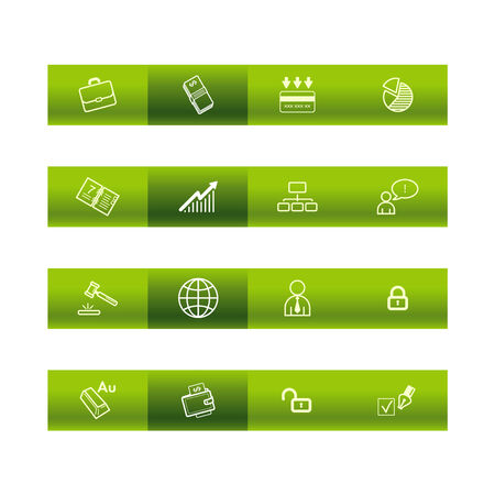 cylinder lock: Green bar business icons Illustration