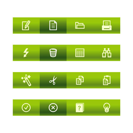 Green bar document icons Stock Vector - 3792682