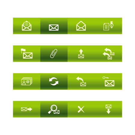 adress book: Green bar e-mail icons Illustration