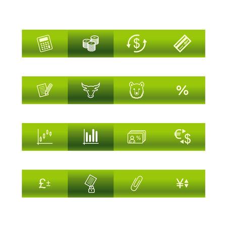 Green bar finance icons Vector