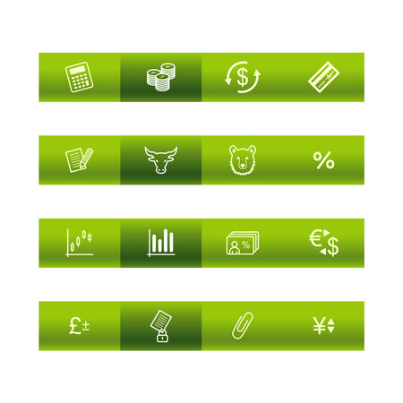 cylinder lock: Green bar finance icons