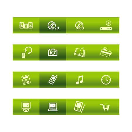 electronics icons: Green bar home electronics icons
