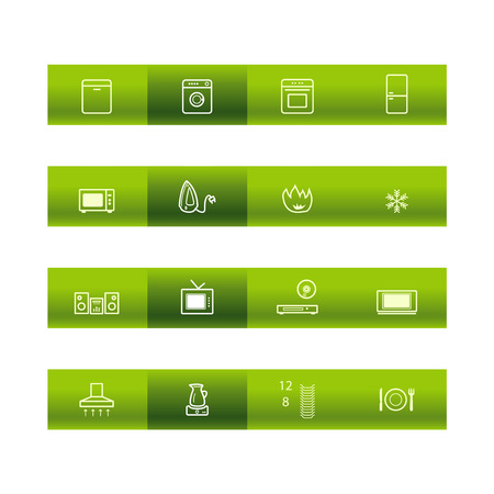 household goods: Green bar household goods icons