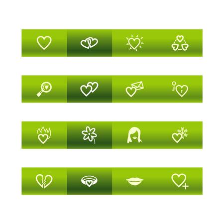 Green bar love icons Stock Vector - 3792685