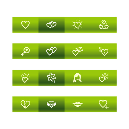 Green bar love icons Stock Vector - 3792685