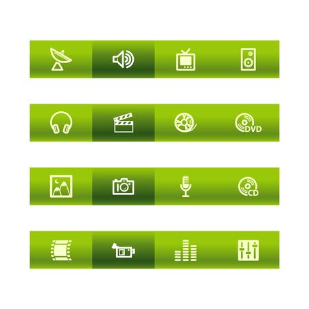 Green bar media icons Stock Vector - 3793200