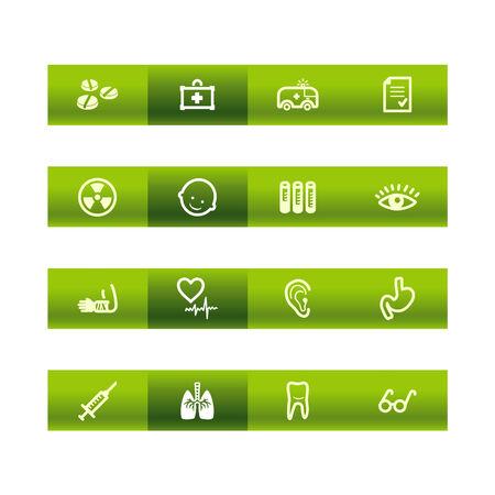respiration: Green bar medicine icons
