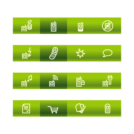 cylinder lock: Green bar mobile phone icons