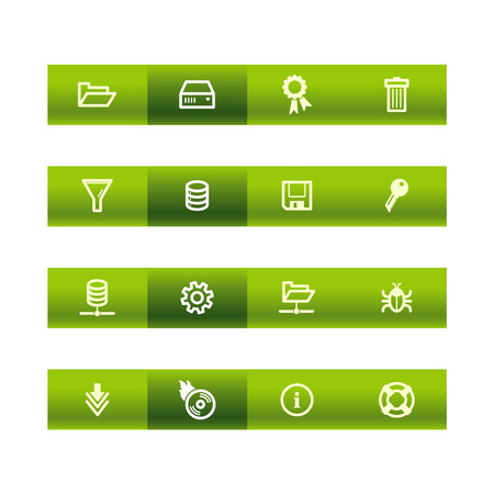 Green bar server icons Vector