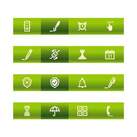 Green bar software icons Vector