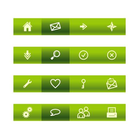 Green bar web icons Stock Vector - 3793197