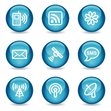 Communication web icons, blue glossy sphere series Stock Vector - 3865597