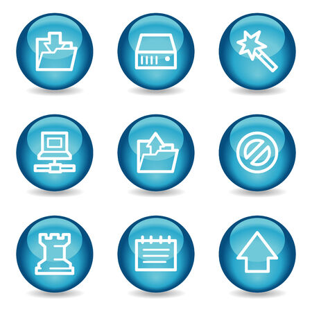 Data web icons, blue glossy sphere series Vector