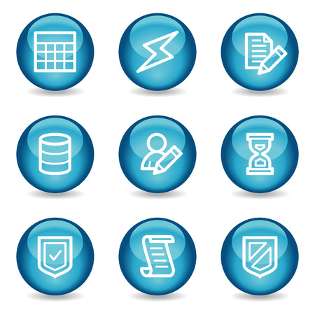 Database web icons, blue glossy sphere series Vector