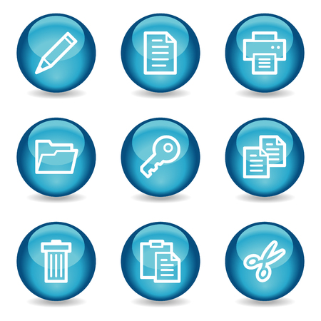 Document web icons, blue glossy sphere series Vector