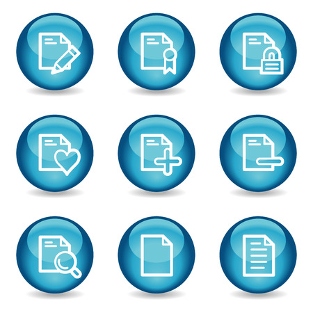 Document web icons, blue glossy sphere series set 2 Vector