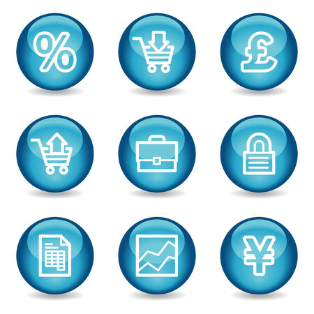 E-business web icons, blue glossy sphere series Vector