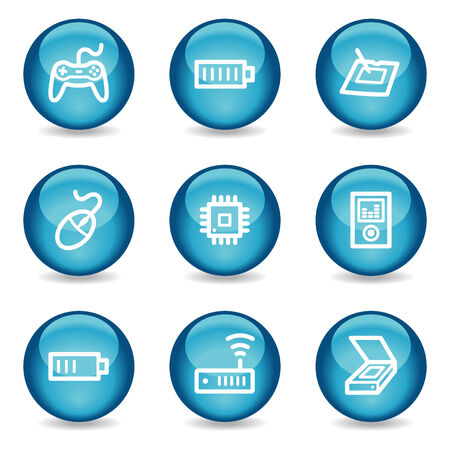 Electronics web icons, blue glossy sphere series set 2 Vector