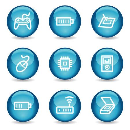 wireless lan: Electronics web icons, blue glossy sphere series set 2 Illustration