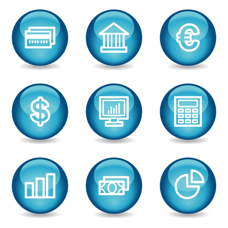 Finance web icons, blue glossy sphere series Vector