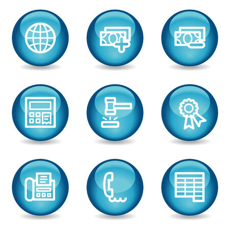 Finance web icons, blue glossy sphere series set 2 Stock Vector - 3865598