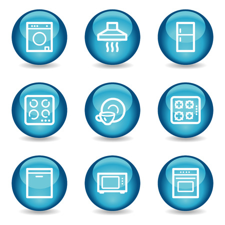 gas laundry: Home appliances web icons, blue glossy sphere series