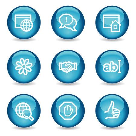 Internet communication web icons, blue glossy sphere series