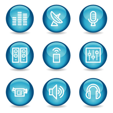Media web icons, blue glossy sphere series Vector