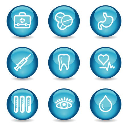 Medicine web icons, blue glossy sphere series Vector