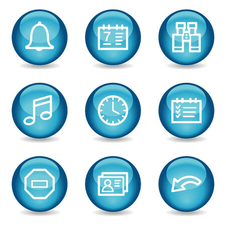Organizer web icons, blue glossy sphere series Stock Vector - 3865574