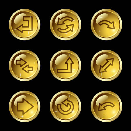 Arrows web icons, gold glossy buttons series