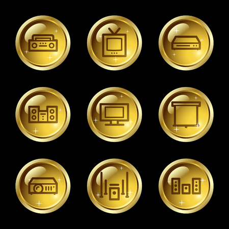 tvset: Audio video web icons, gold glossy buttons series Illustration