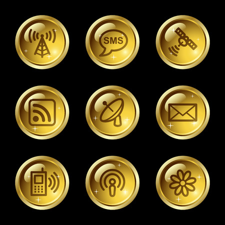 gsm phone: Communication web icons, gold glossy buttons series Illustration