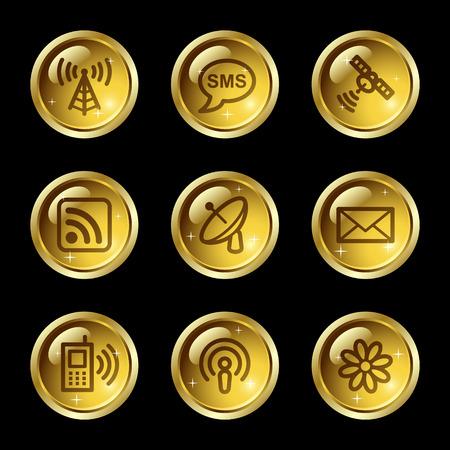 wifi access: Comunicazione Web icone, pulsanti serie oro lucido