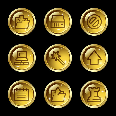 Data web icons, gold glossy buttons series Vector