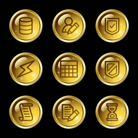 Database web icons, gold glossy buttons series Vector