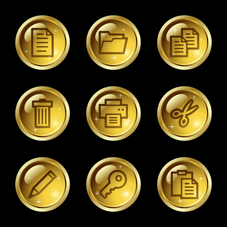 Document web icons, gold glossy buttons series Vector