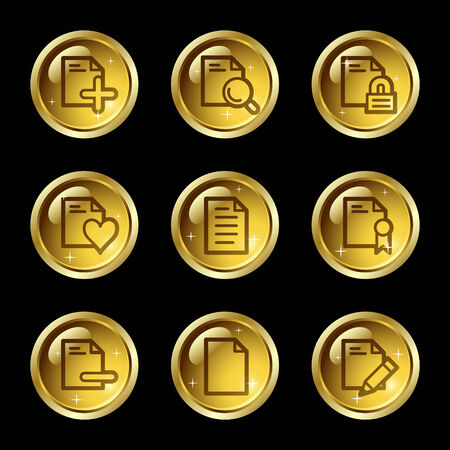 Document web icons, gold glossy buttons series set 2 Vector