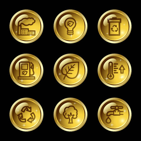 Ecology web icons, gold glossy buttons series Vector