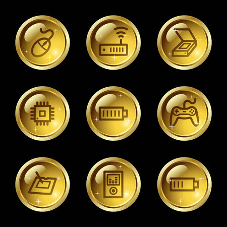 Electronics web icons, gold glossy buttons series set 2 Vector